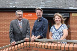 Councillors Derique Montaut, Chris Watts, and Fay Howard at Liden Community Centre