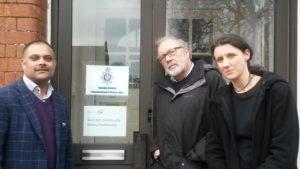 Councillors Abdul Amin, Steve Allsopp and Emma Bushell at Swindon Central Police Station