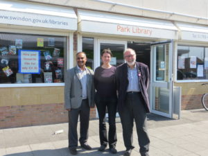 Councillors Abdul Amin, Steve Allsopp and Emma Bushell at Park Library