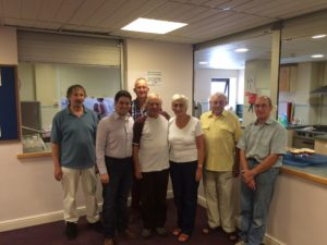 Councillor Matthew Courtliff with residents at Freshbrook Church