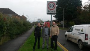 Councillors Emma Bushell, Steve Allsopp and Abdul Amin with 20 MPH sign