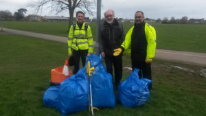 Abdul Amin, Steve Allsopp and Emma Bushell with rubbish bags