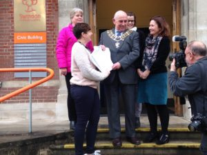 Mayor Eric Shaw being presented the petition at Swindon Civic Offices
