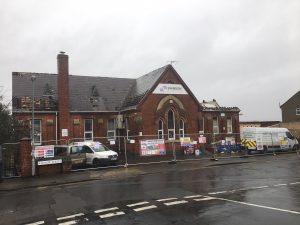 Clifton Street School with partially demolished roof